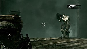 Gears of War - Marcus Fenix, the player-controlled character, takes aim from behind the cover at a Locust with the Lancer. The game uses an over-the-shoulder camera angle when displaying the targeting reticle.