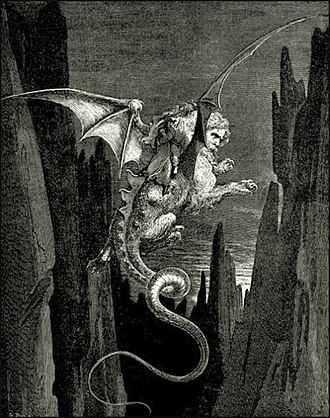 Geryon - A wood engraving by Gustave Doré of Geryon for Dante's Inferno