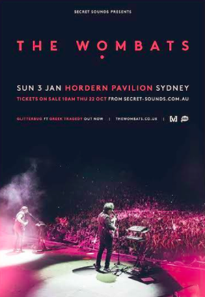 Glitterbug Tour 2015/2016 - Poster for The Wombats show in Sydney.