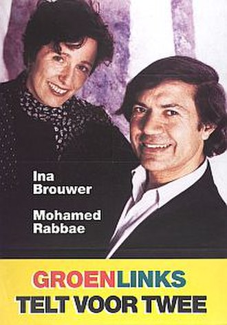 "GroenLinks - 1994 election posters showing the duo Rabbae/Brouwer. The text reads: ""GreenLeft counts double"""