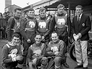Halifax Dukes - Halifax 'Dukes' 1965   Standing - Bert Kingston, Tommy Roper, Eric Boocock, Dave Younghusband, Maurice Morley (Team Manager) - Kneeling - Dennis Gavros, Bryan Elliott, Eric Boothroyd (Captain)   (from The John Somerville Collection)