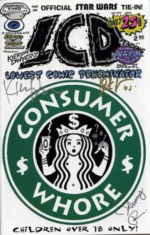 Kieron Dwyer - Cover of first LCD issue, signed by the artists, featuring parody of the Starbucks logo that prompted legal actions from the corporation.