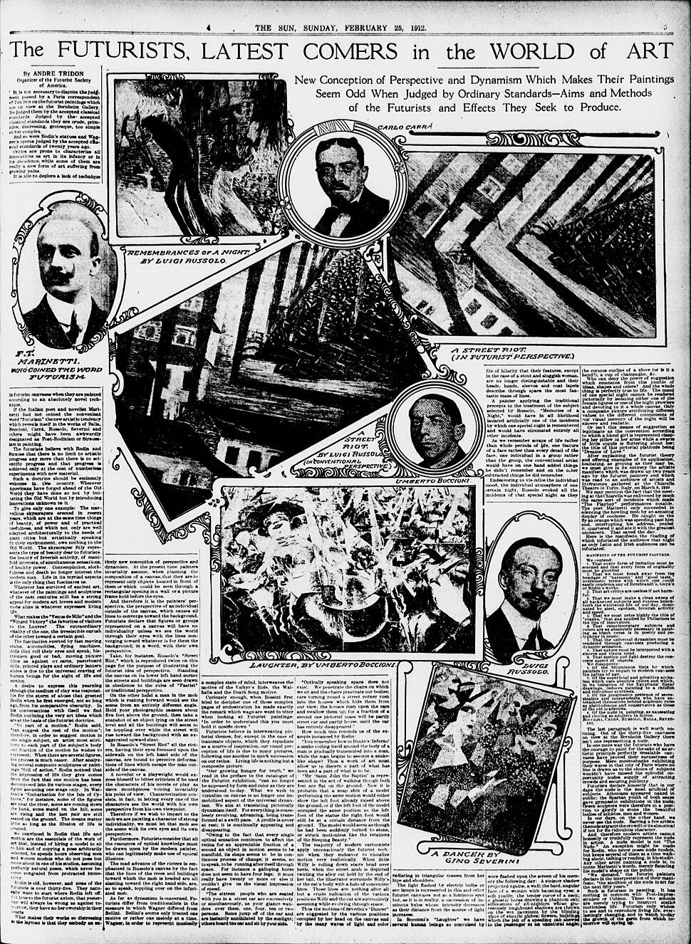 Luigi Russolo, Carlo Carrà, Filippo Tommaso Marinetti, Umberto Boccioni, Gino Severini, The Sun, 25 February 1912