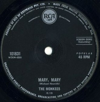 Mary, Mary (song) - Image: Mary Mary cover