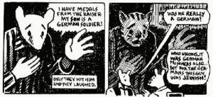 Two comics panels, in which the cartoonist cannot decide to depict a character as a mouse or a cat.