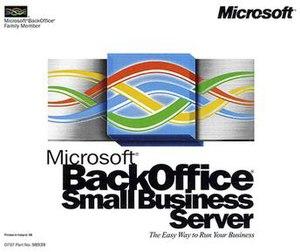 Microsoft BackOffice Server - Image: Microsoft Back Office Small Business Server 4 0 CD case