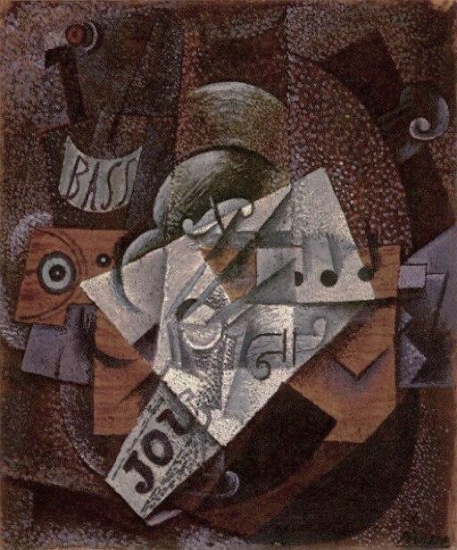 Pablo Picasso, 1913, Bouteille, clarinette, violon, journal, verre