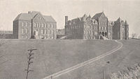 Western University of Pennsylvania's campus on Observatory Hill on Pittsburgh's North Side from 1890 to 1909 prior to its move to Oakland and renaming of the university to the University of Pittsburgh.