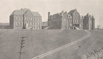 University of Pittsburgh Alma Mater - Campus of the Western University of Pennsylvania, the prior name of the University of Pittsburgh, on what is now Pittsburgh's North Side before the move of the university to the Oakland section of Pittsburgh in 1909