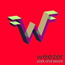"A red square with a three-dimensional version of the Weezer logo. The bottom right corner contains the text ""Weezer"" on top of the text ""pork and beans""."