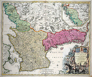 "Skåneland - Map from 1710 of ""Scaniae"" (Skåneland), consisting of the provinces ""Scania, Hallandia et Blekingia"""