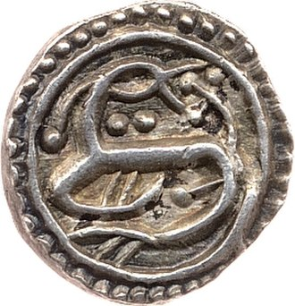 History of the English penny (c. 600 – 1066) - O: Facing bust with beard and cross on either side.