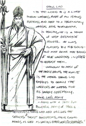 "Shang Tsung - ""Shang Lao's"" design and story in John Tobias' sketchbook"