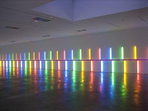 Site-specific art - Dan Flavin, Site-specific installation, 1996, Menil Collection, Houston TX, USA