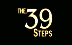 "The text ""The 39 Steps"" in upper-case, with ""39"" in numerals and a large font, in a light cream colour on a black background."