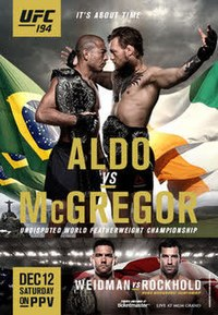 A poster or logo for UFC 194: Aldo vs. McGregor.