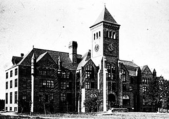"History of Duke University - One of the first buildings on the original Durham campus (now East Campus), the Washington Duke Building (""Old Main"") was later destroyed when the campus was rebuilt."