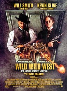 Two 19th century gentlemen (an African American and a Caucasian) each wielding guns are facing the viewer. Beneath them is a giant flame-spewing mechanical spider, the film's title and credits.