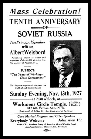 Albert Weisbord - Leaflet for a speech by Weisbord given in connection with the 10th Anniversary of the Russian Revolution.