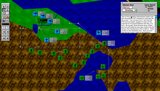 "A-10 Attack! - The in-game mission map and planner, showing the starting state of the Retaliation mission. Clicking the small triangles on the chits displayed a menu allowing the user to interact with those ""targets""."