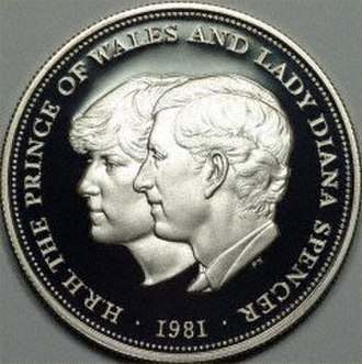 Diana, Princess of Wales - The wedding of Charles and Diana commemorated on a 1981 British Crown
