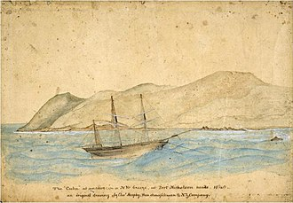 Reclamation of Wellington Harbour - The Cuba anchored in Wellington Harbour by Charles Heaphy.