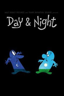 "The poster for the Pixar short animated film ""Day & Night"". At the top, text reads ""Walt Disney Pictures and Pixar present Day & Night"". Beneath the text, two hand drawn cartoon characters are pictured. They are both male. The one on the left has an image of nighttime (moon and stars) inside him, and the man on the right has an image of daytime (sun and blue sky) inside him. They both look surprised to see each other."