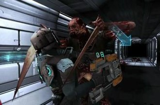 Dead Space (mobile game) - A necromorph attacks Vandal. Note the touchscreen specific control method whereby the play must swipe down and to the right to fight back.