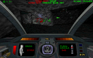 Descent II - Screenshot featuring the new Guide-Bot. This Guide-Bot is guiding the player to the reactor to destroy.