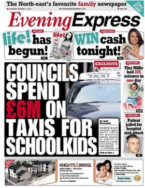 Evening Express (Scotland) - Image: EE Front Page from 14 Jan 2012