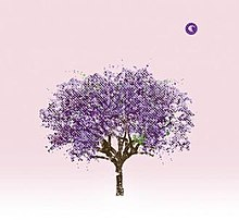 A painting of a purple tree on a pink textured background, with the E Works logo of a crescent moon wearing a nightcap in the top left corner