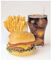 A typical fast food meal in the United States consists of fries, a burger (or other main item) and a soft drink.