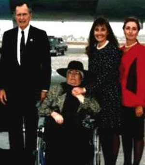 Doris Tate - Tate (seated) in 1992 being acknowledged by President George H. W. Bush for her work in support of victims' rights. Also pictured are Tate's daughters Patti (left) and Debra (right).