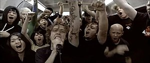 Give It All - In the music video, Rise Against performs the song inside a crowded subway car.