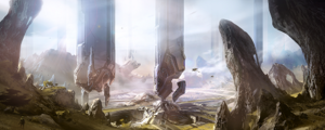 Halo 4 - A piece of concept art showing the gravity-defying architecture and scenery of the Forerunner planet, Requiem