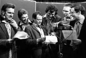 The Hitchhiker's Guide to the Galaxy (radio series) - The recording session of Fit the Seventh at the BBC's Paris Theatre recording studio; from left David Tate, Alan Ford, Geoffrey McGivern, Douglas Adams, Mark Wing-Davey, Simon Jones