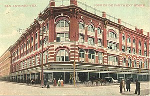 Joske's - A postcard believed to be depicting the downtown flagship store after it was expanded in 1909, but before the Art Deco facade was added in 1939.