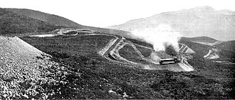 "Mount Tamalpais and Muir Woods Railway - The ""Double Bow Knot"" curve, where tracks paralleled themselves five times to connect two points only 800 feet apart, but separated by a 130-foot climb in elevation."