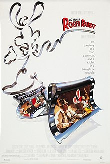"Theatrical release poster depicting filmstrips shaped like  Roger Rabbit. The title ""Who Framed Roger Rabbit"" and a text ""It's the story of a man, a woman, and a rabbit in a triangle of trouble."" are shown at the left top of the image."