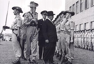 University of New South Wales Regiment - The University of Technology Regiment honour guard being inspected by Governor Sir John Northcott at the first graduation ceremony of the university, 16 April 1955.