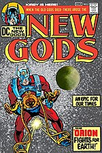 "The New Gods #1 (March 1971) featuring Orion. Kirby left Marvel for DC, an event some see as heralding the close of the ""Silver Age"". Cover art by Jack Kirby & Don Heck."