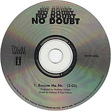 A blank compact disc displaying the song's title and respective artist.