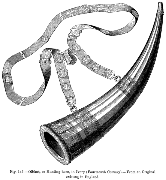 File:Olifant or Hunting horn in Ivory Fourteenth Century From an Original existing in England.png