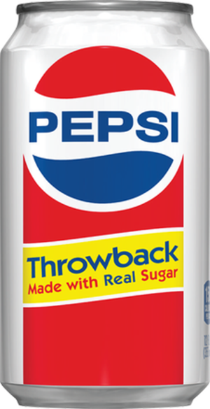 Pepsi-Cola Made with Real Sugar - Design on a 12-ounce can of Pepsi Throwback from 2010.