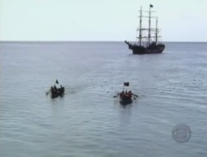 Pirate Master - The Black and Red Crews row away from the Picton Castle at the start of the first expedition