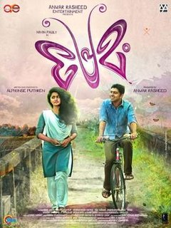 <i>Premam</i> 2015 Indian Malayalam-language coming-of-age musical romantic comedy drama film written and directed by Alphonse Puthren