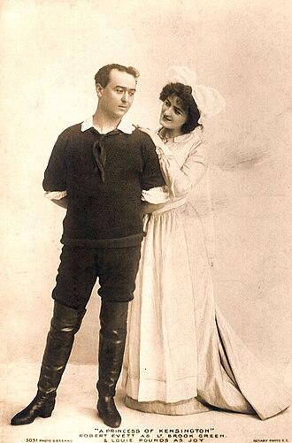 A Princess of Kensington - Postcard advertising A Princess of Kensington with Robert Evett as Lt. Green and Louie Pounds as Joy