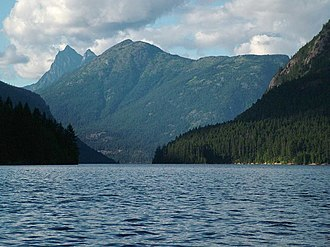 Ross Lake (Washington) - Looking north up Ross Lake, with Hozomeen Mountain in the left-background and Desolation Peak in the center-background
