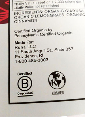 B Corporation (certification) - Image: Runa B Corp Label