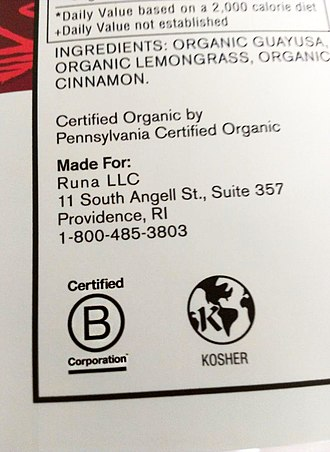 B Corporation (certification) - Example of a B Corp certification label